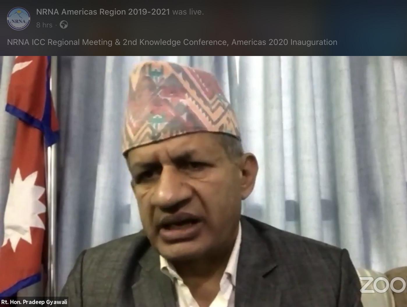 एनआरएनलाई परराष्ट्रमन्त्री ज्ञवालीको आग्रह, 'नेपालको राजनीतिक विषयमा बढ्दा तरंगित नहुनु होस'